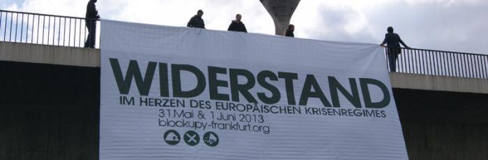 Blockupy-Banner vor dem Fernsehturm Düsseldorf